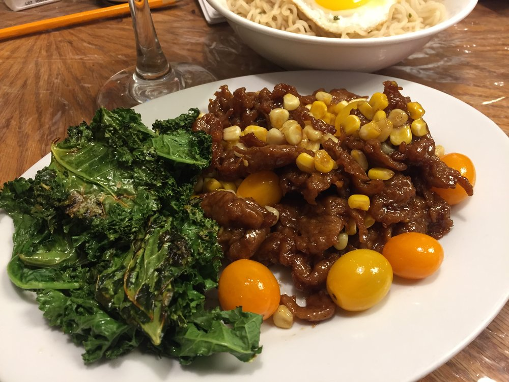 Citrus Spare ribs (Added tomatoes, corn, kale)