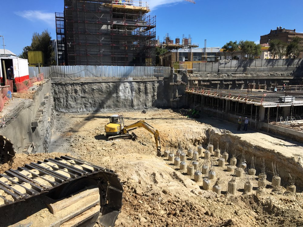 getting started on site with foundations for The Eden apartments