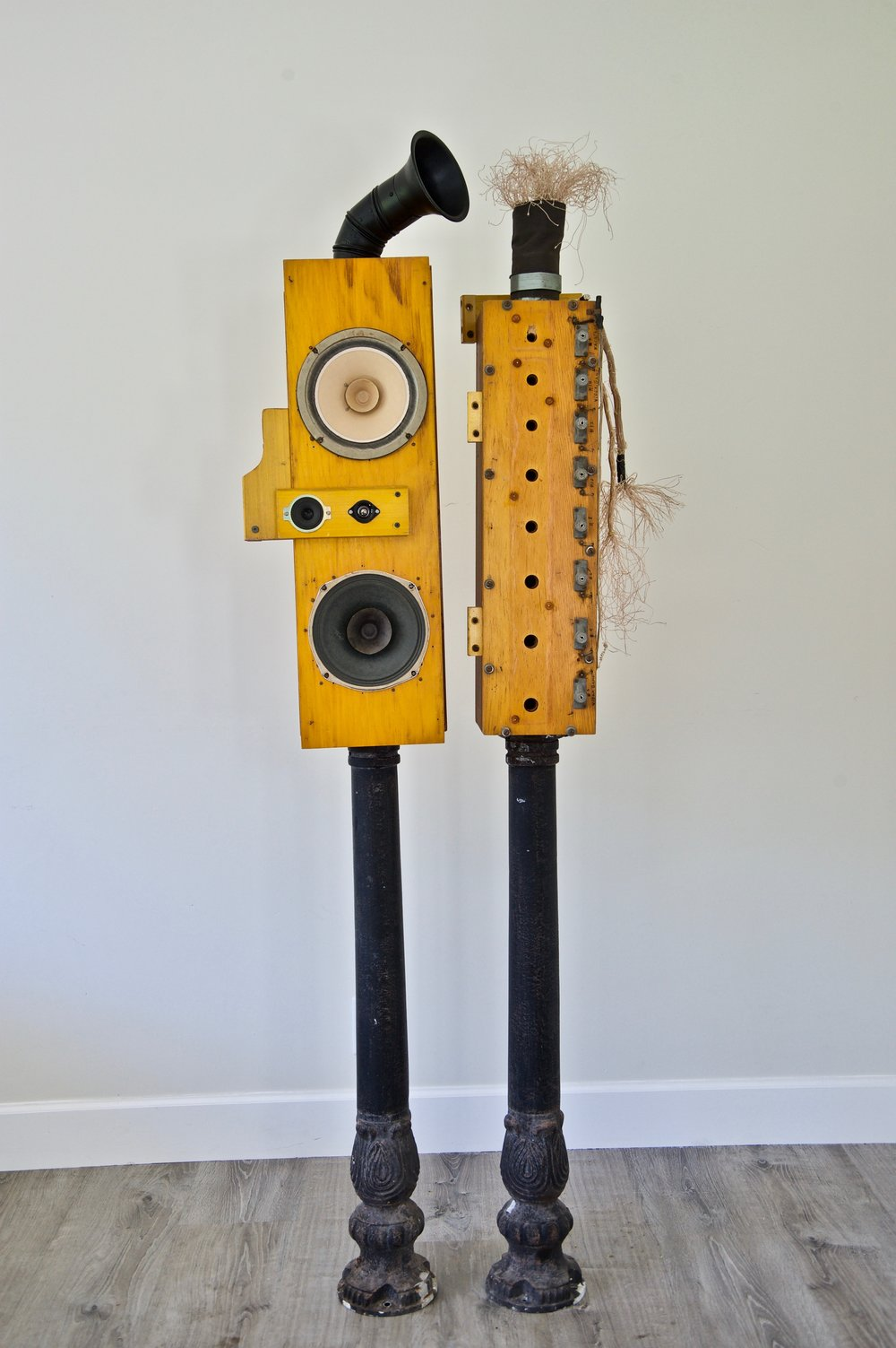 High Fidelity Boom Boom Box 1 and Box 2   Pipe organ parts, vintage speakers, cotton electrical wiring, metal posts