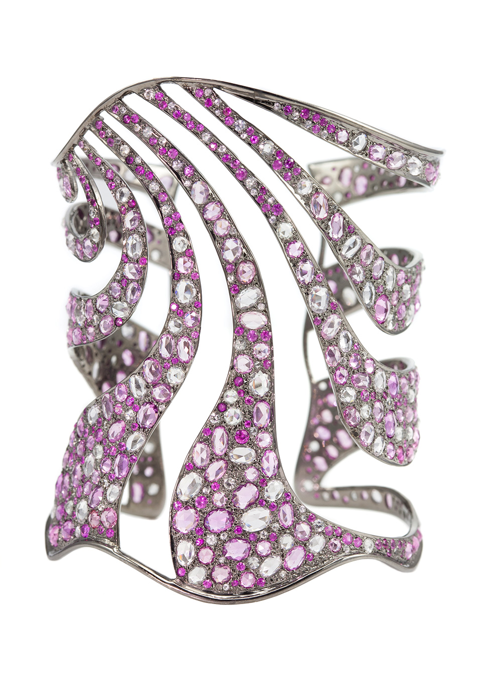 2013 Couture Design Award Winner for Colored Gemstones -  Empress Cuff in Pink Sapphires and Black Gold.jpg