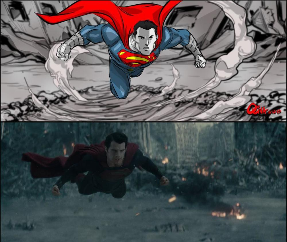 """storyboard and corresponding screenshot from """"Man of Steel"""" (2013)"""