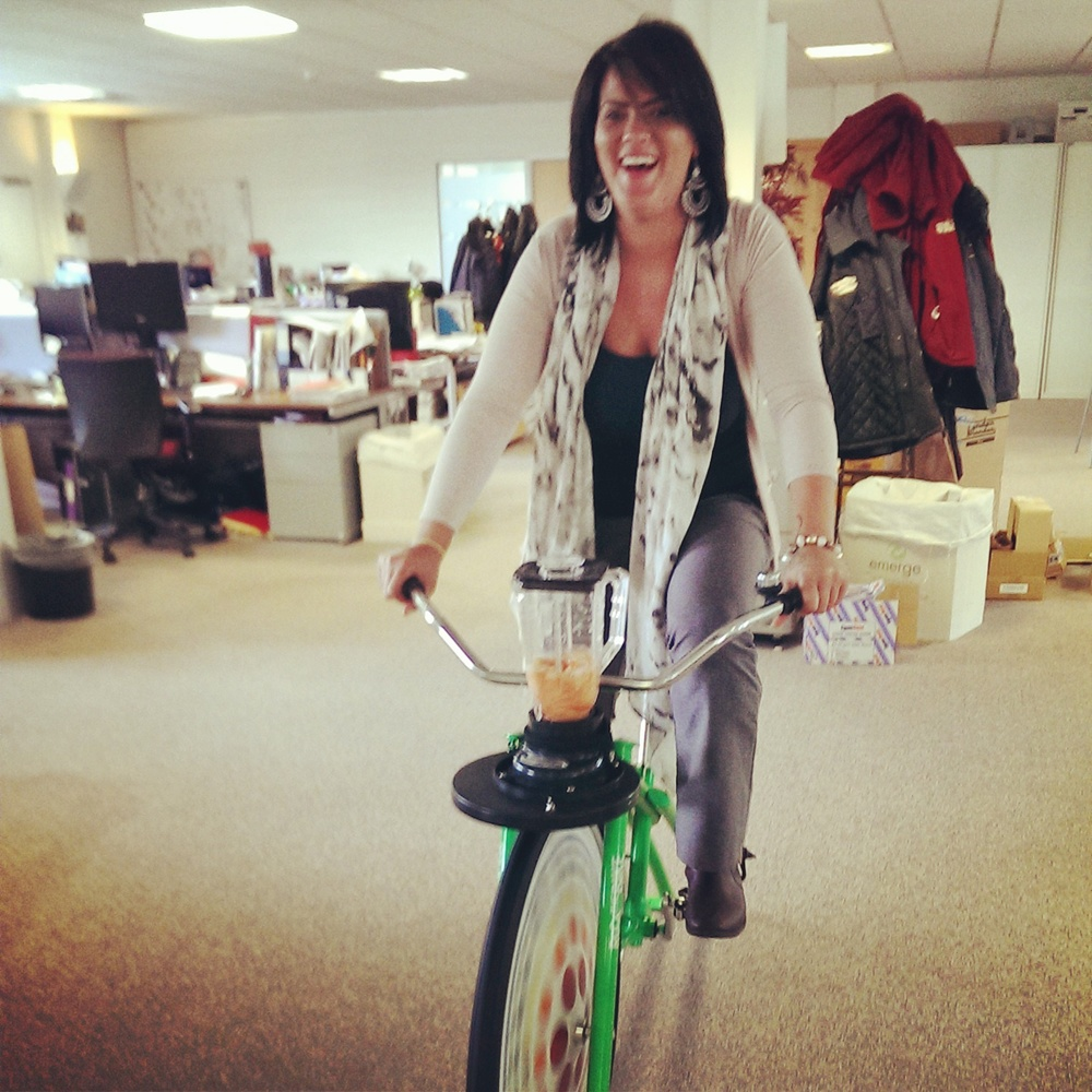Chantelle trying out the City South Manchester smoothie bike