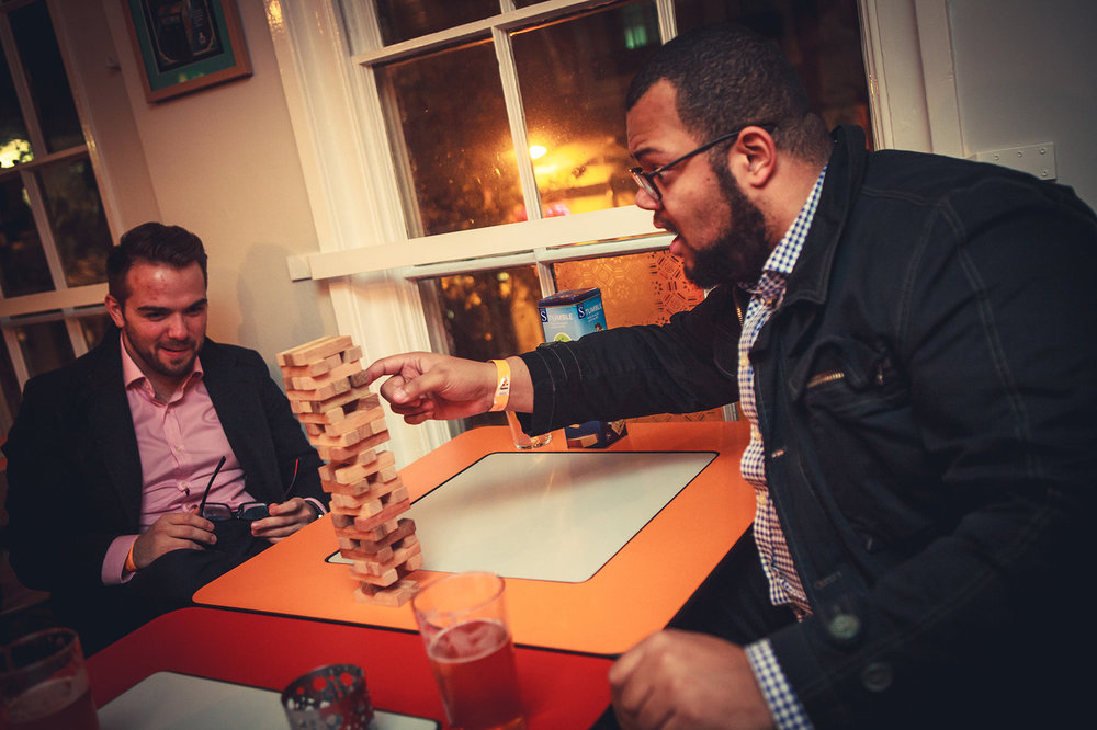 The Cordius team enjoying a game of Jenga in the NVA Toast Bar