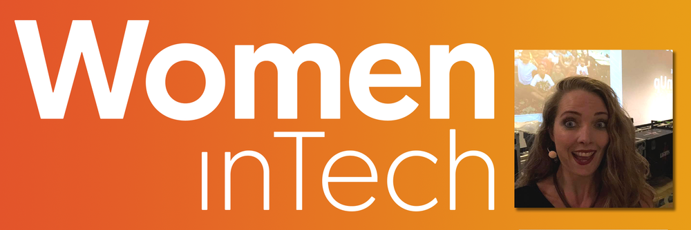 Women in Tech logo (white) on an orange gradient background, with an image of Charlie Whyman