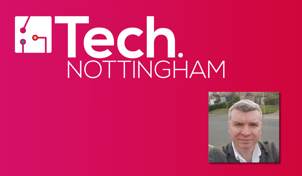 Tech Nottingham logo (white) on pink gradient background, with headshot of speaker Pete Gallagher