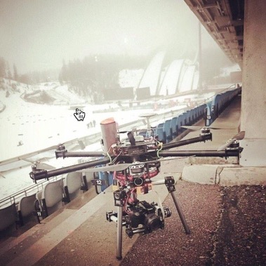 Winter photo shoot with Skycat X68 launcher, Lahti Ski Games 2015. Custom hexacopter by O-P Mahrberg / Virtual Worx.