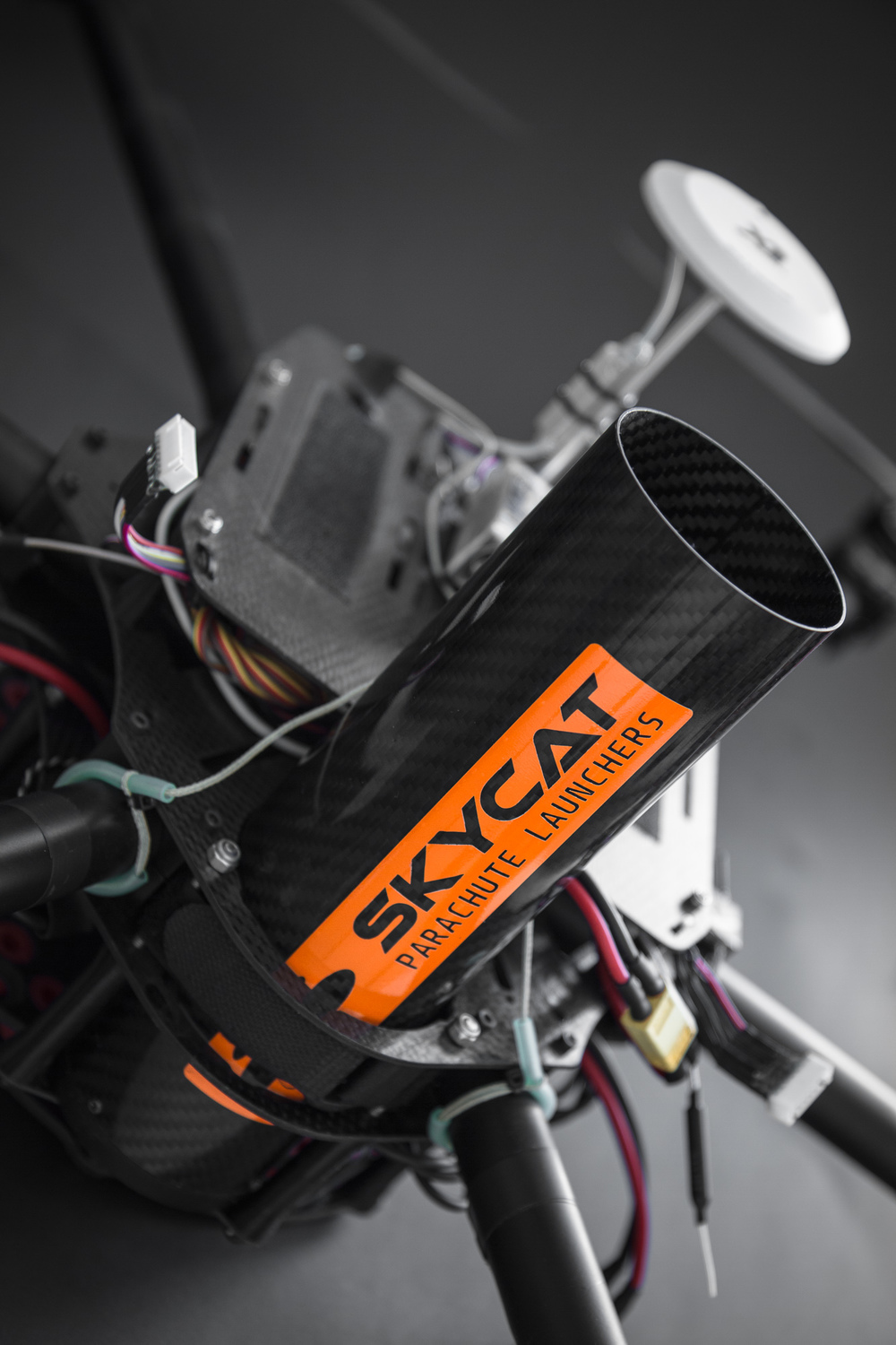 Skycat X68-CF launcher integrated into a hexacopter airframe. Customer project.