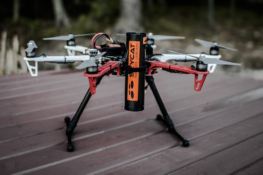 Skycat X55 on a DJI F550 Flame Wheel hexacopter.  Install kit available