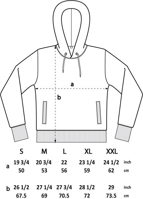 Hoodie size chart