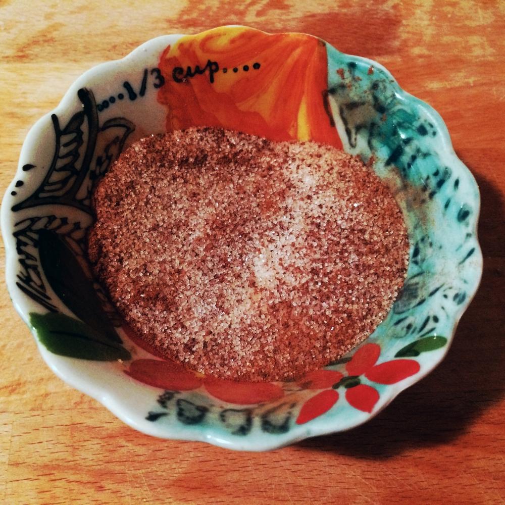 sugar, cinnamon, nutmeg, clove.