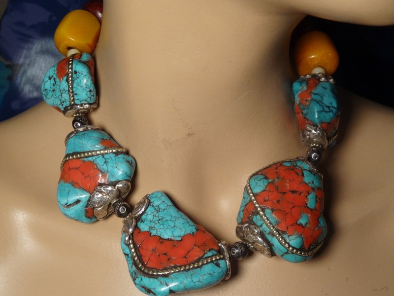 Olga Babushkina's turquoise and inlaid silver necklace.