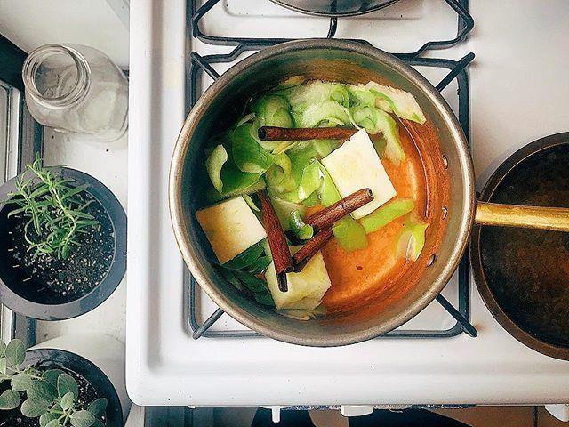 Mulling cider peels + spices making the house smell incredible.