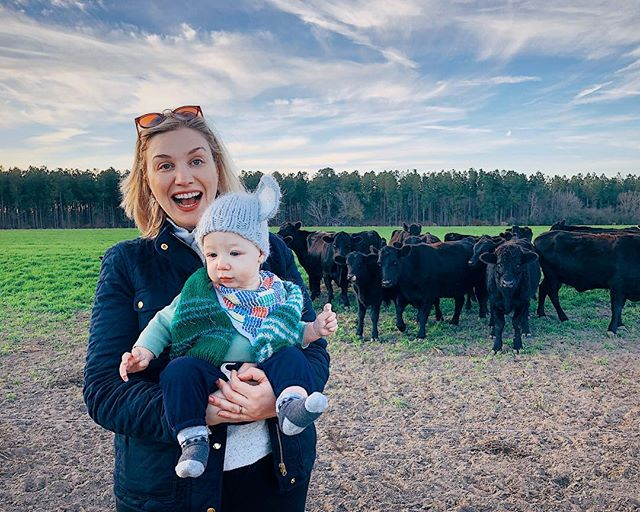 One of us was more enthused about meeting the cows than the other.