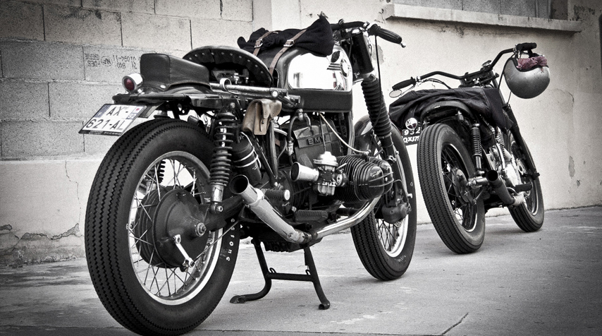 2 Blitz motorcycles before take off with the Southsiders Crew for their 4th birthday weekend. In Toulouse.