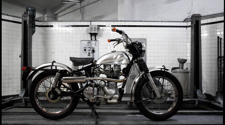 Genuine 1963 Royal Enfield 350 Bullet transformed into a scrambler.