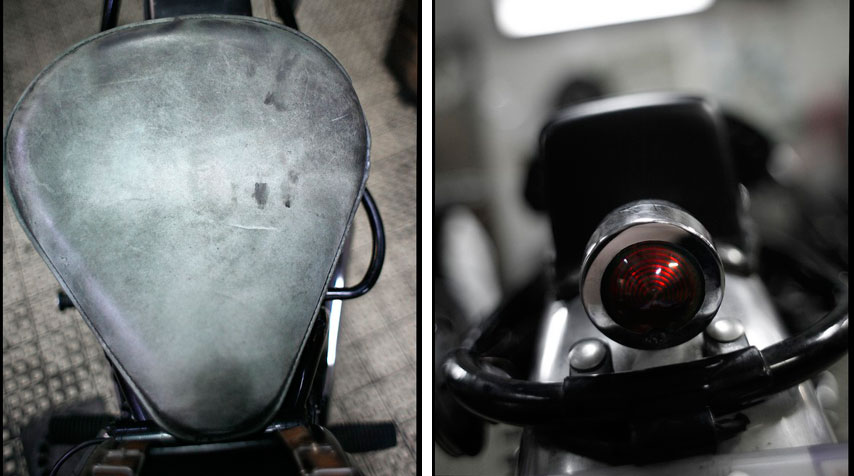 - Riding saddle inspired single seat in gunmetal grey. - Harley Davidson blinker transformed into taillight!