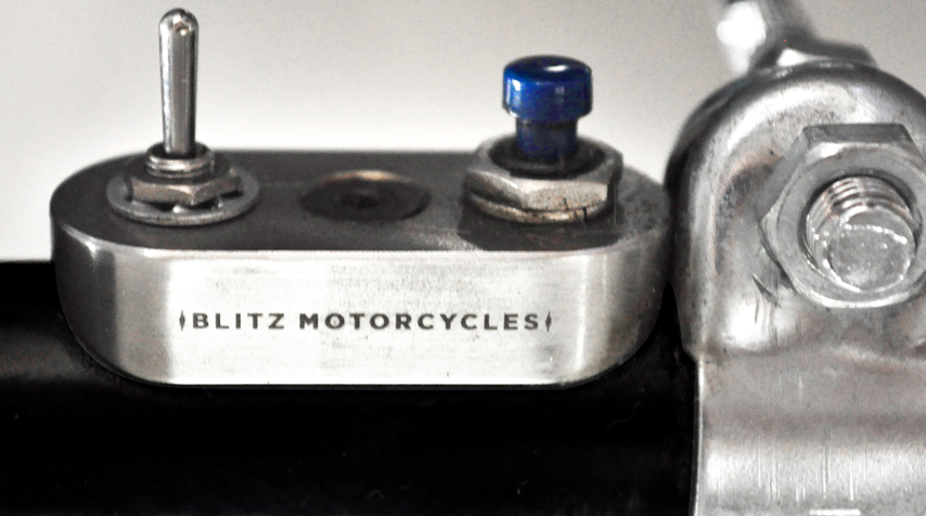 """Blitz Motorcycles"" bespoke mini switches (100% stainless steel / Made in France)."