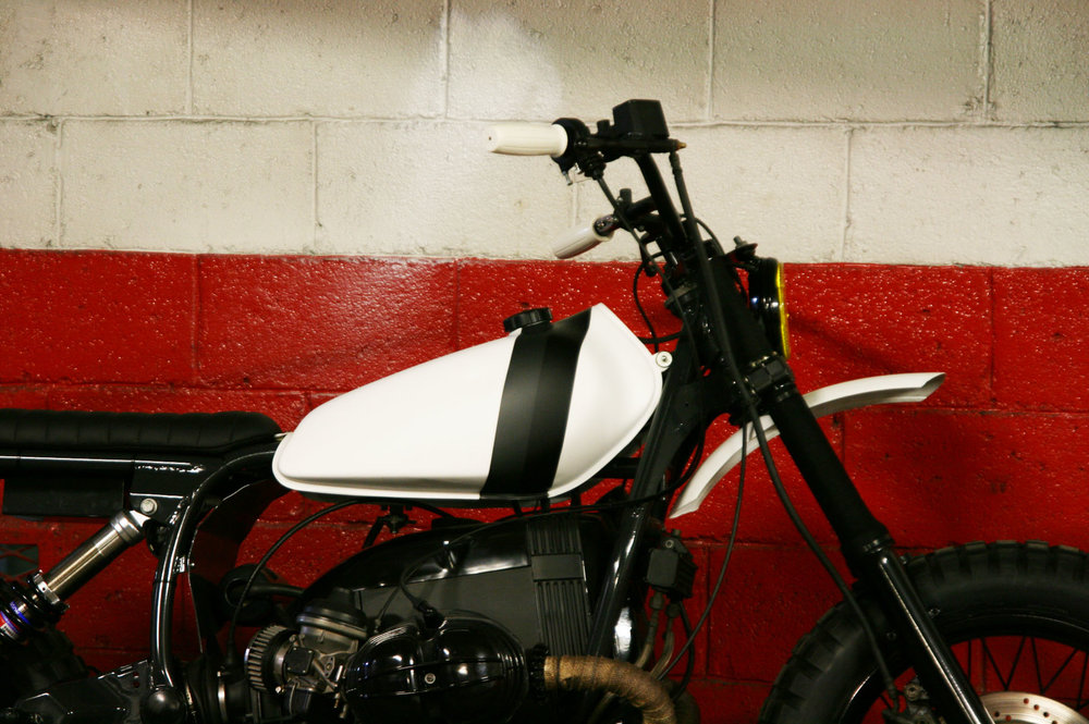 "- Vintage  Yamaha XT125  tank mounted on the reworked frame;  - "" GS colour scheme "" paint job in black & white."