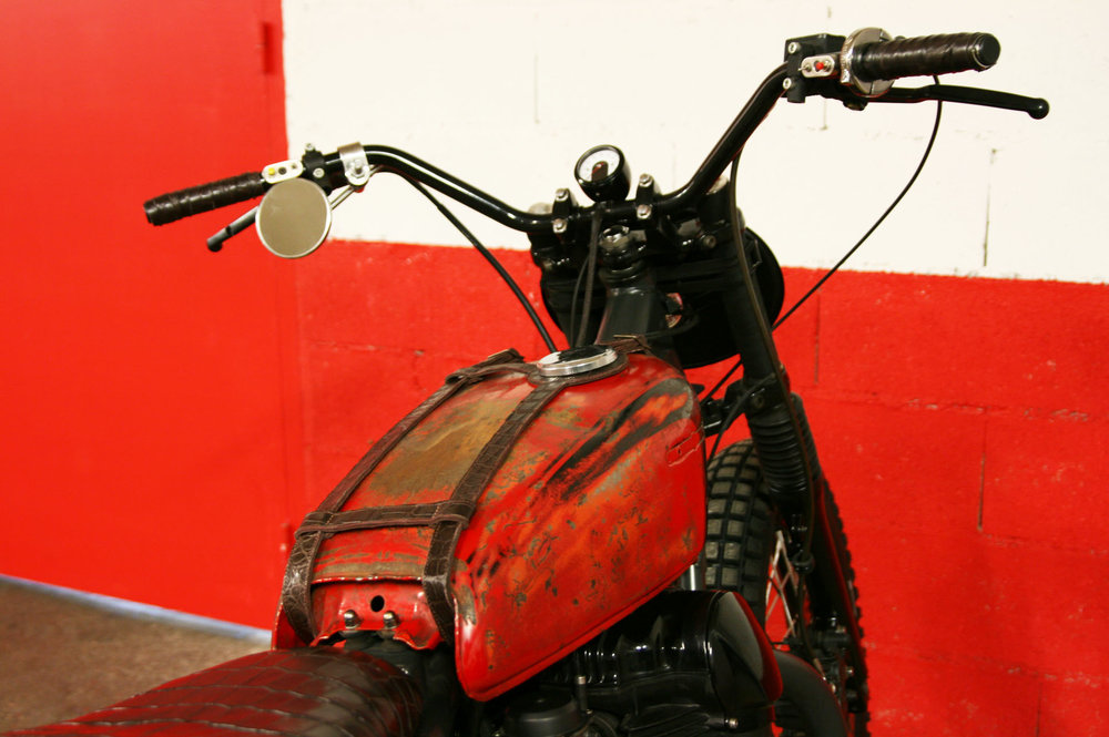 "- vintage  Honda  tank mounted ""as found"";  - mini speedometer by  Moto Gadget ."