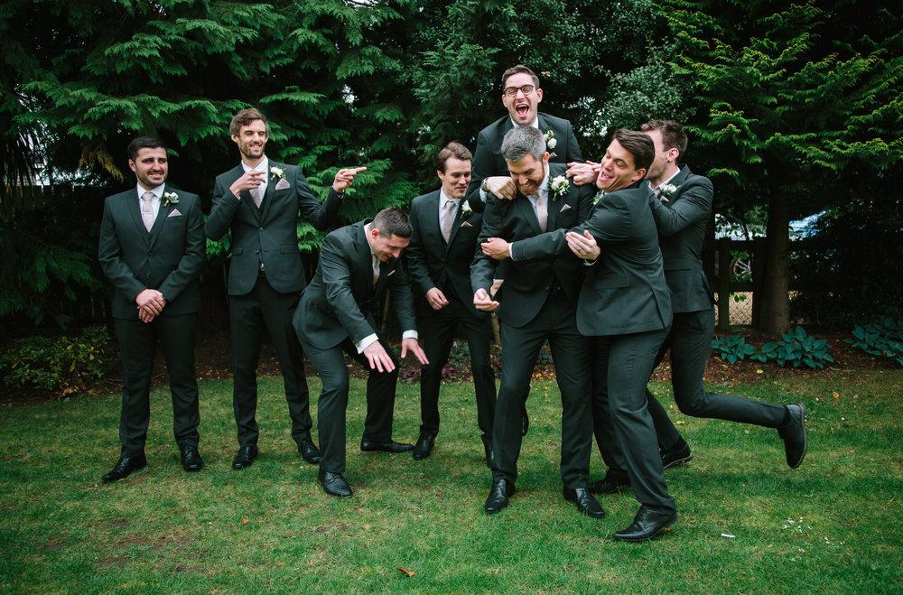 groomsmen joking