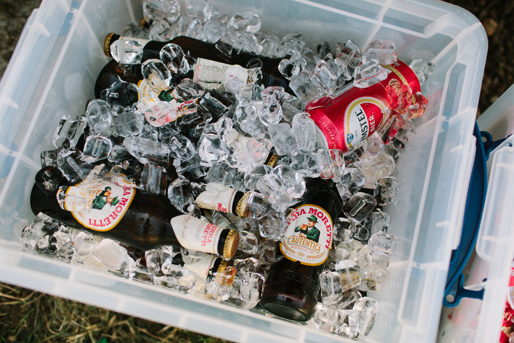 cold beers at a wedding