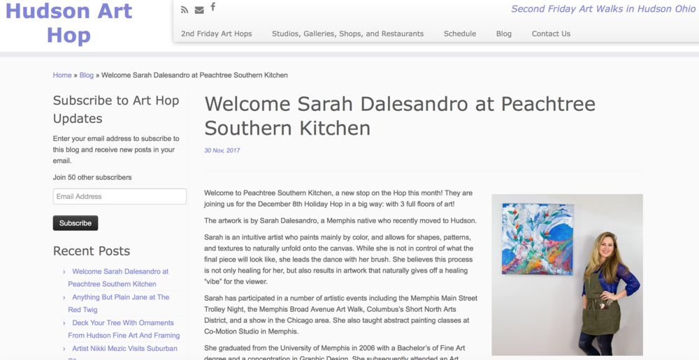 Hudson Art Hop - Welcome Sarah Dalesandro at Peachtree Southern Kitchen