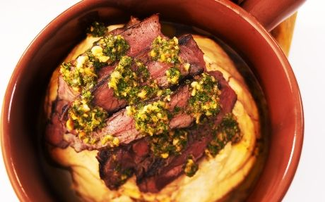 Rump Steak with Bean Mash & Hazelnut Salsa Verde