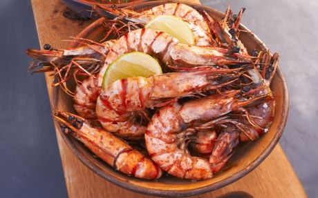 BBQ Prawns with Roast Chilli Salsa