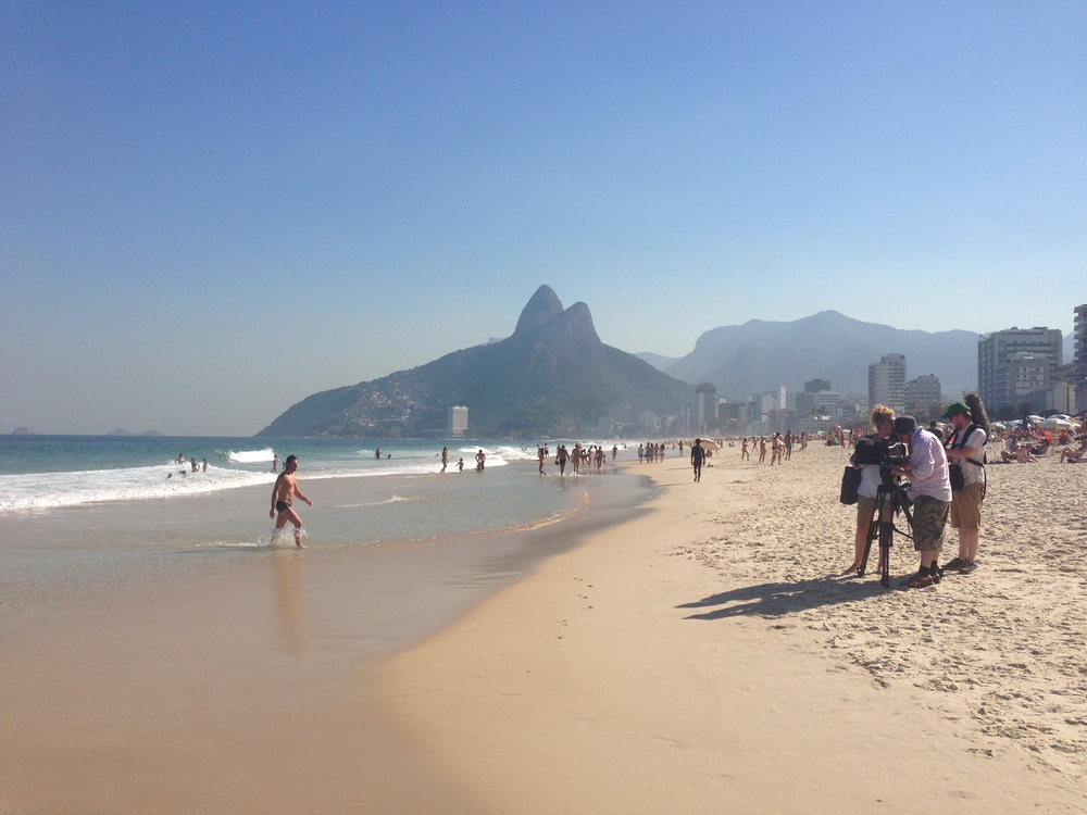 Filming on Ipanema Beach