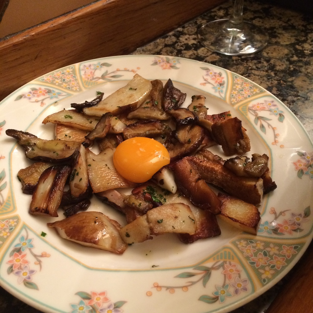 Wild mushrooms & egg yolk at Ganbara