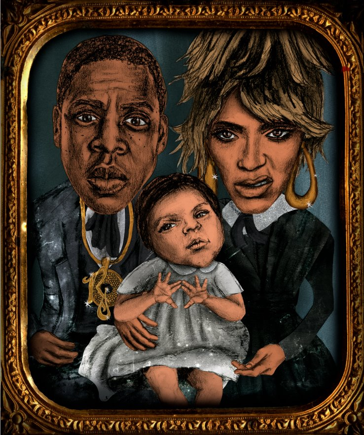 the first official portrait of beyonce and jay-z with blue ivy.