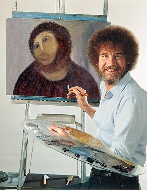 thesochillnetwork :     Bob Ross takes a stab at  Ecce homo       I can't