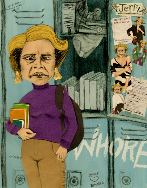 one of my old pieces. amy sedaris in her role as the hilarious user, booze, and loser jerri blank on strangers with candy!