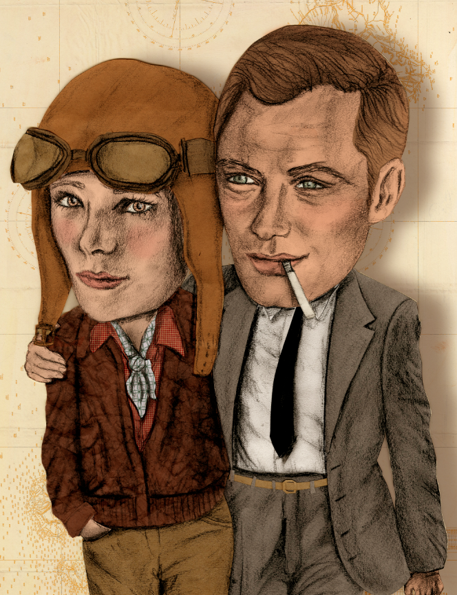 new illustration for my promotional postcards. amelia and jude.