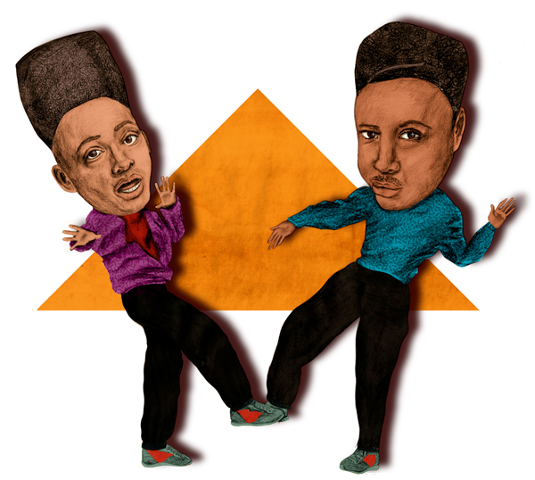 Spot illustration of the 80's house party hosts Kid 'N Play.