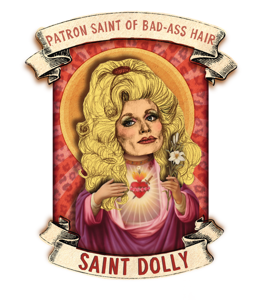 "eatsleepdraw :  Saint Dolly by: Amelia Jude Charcoal, Cut Paper, and Digital Collage  Candle design featuring Our Lady the Patron Saint of Bad-Ass Hair.   ""The higher the hair, the closer to God.""      Tumblr     Portfolio     Society6   Oh hey"