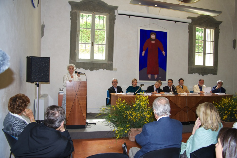 Beatrice Monti and jury during the award ceremony at Vallombrosa Abbey