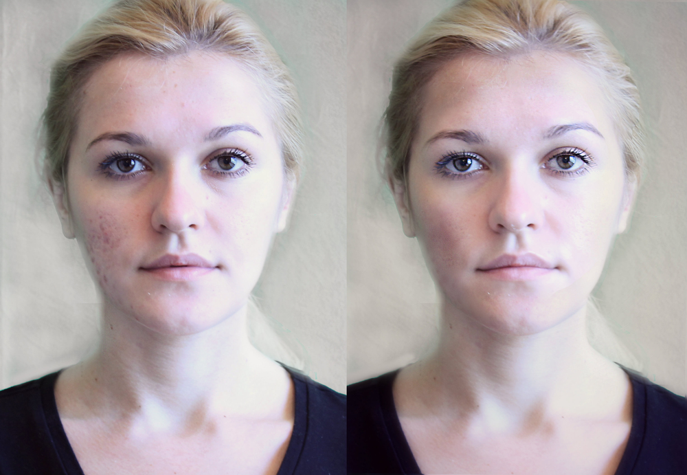 Photo retouching simulates product results