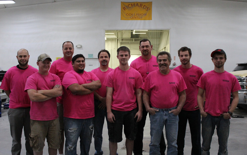 Auto Body Team sport pink for breast cancer awareness month!