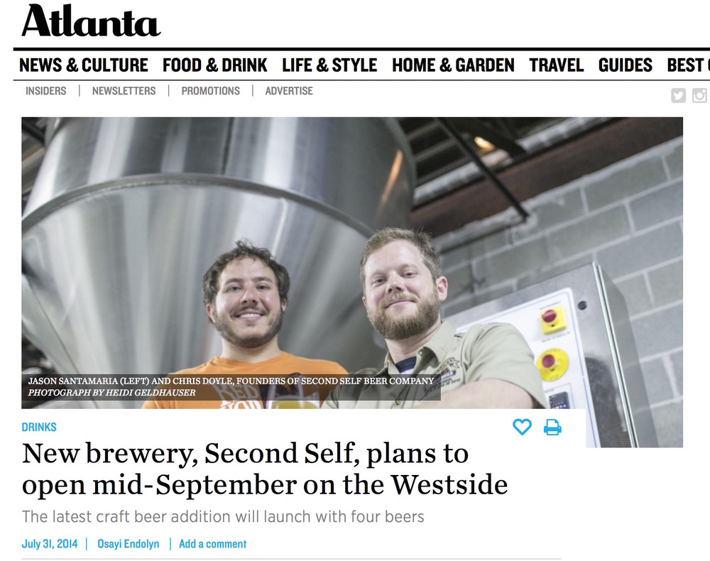 Atlanta Magazine,     July 31, 2014,  New brewery, Second Self, plans to open mid-September on the Westside