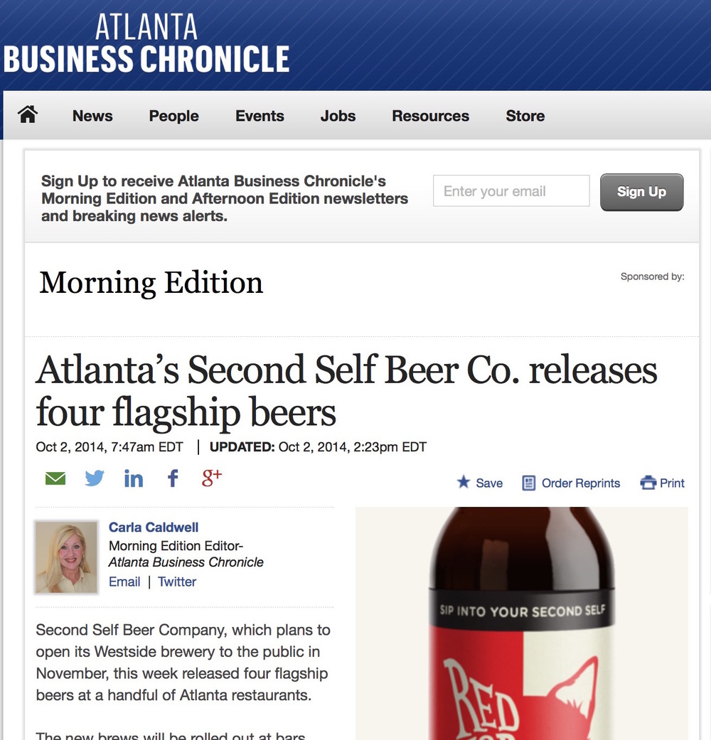 Atlanta Business Chronicle,   October 2, 2014,  Atlanta's Second Self Beer Co. releases four flagship beers