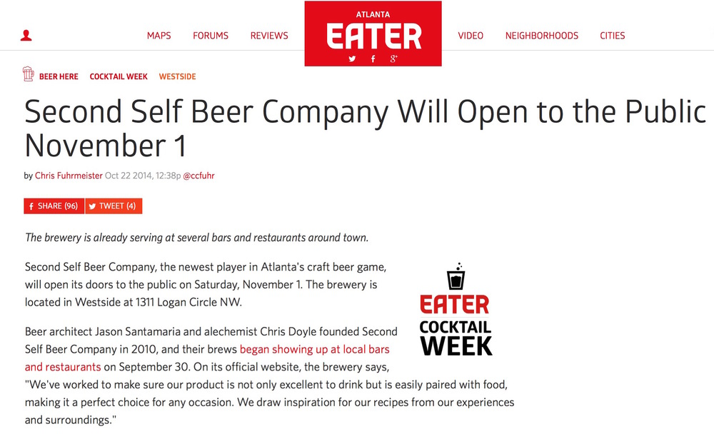 Eater Atlanta,    October 22, 2014,   Second Self Beer Company Will Open to the Public November 1