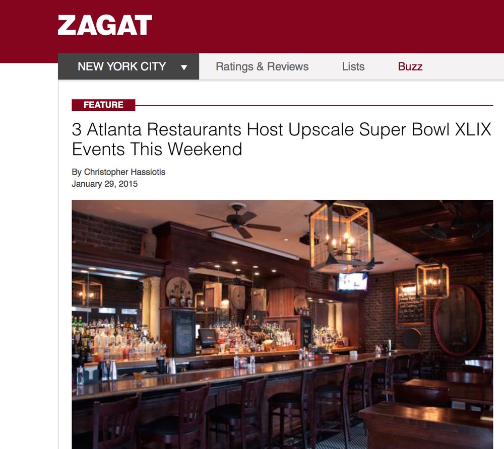 Zagat,  Upscale Super Bowl Events , January 29th, 2015