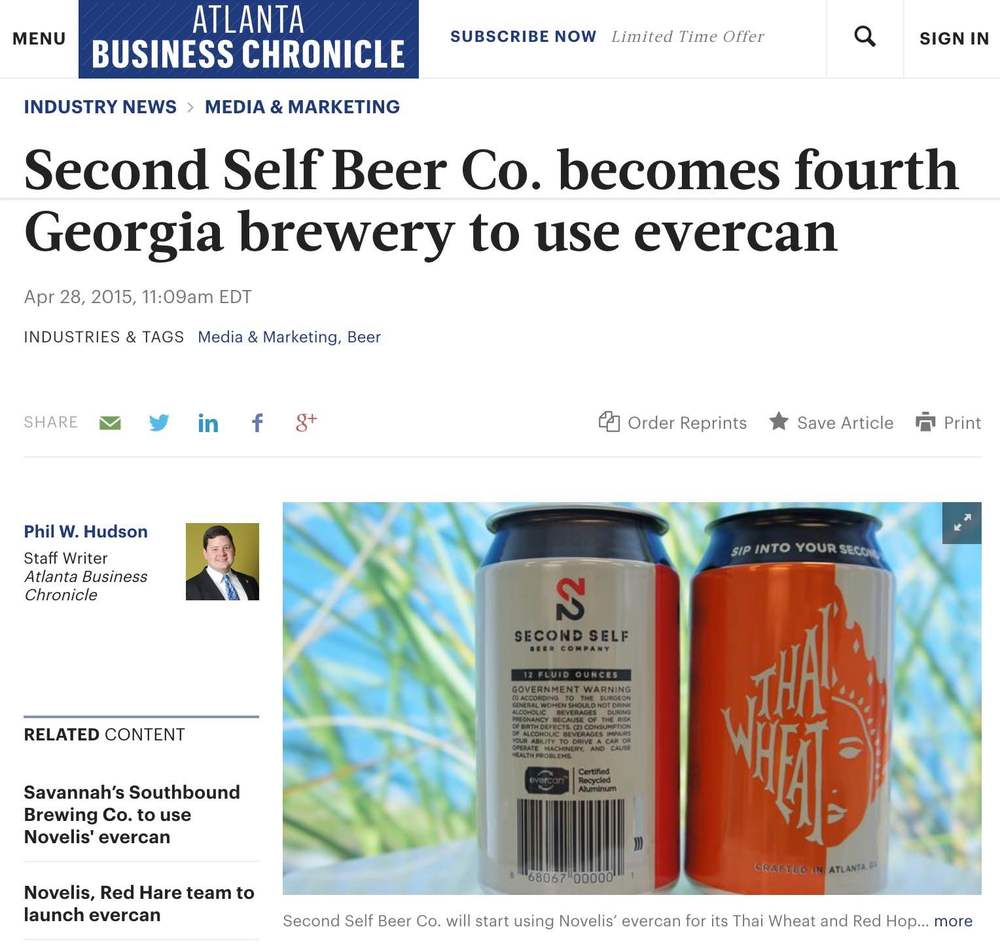 Atlanta Business Chronicle    , April 28th, 2015,  Second Self Beer Co. becomes fourth Georgia brewery to use evercan