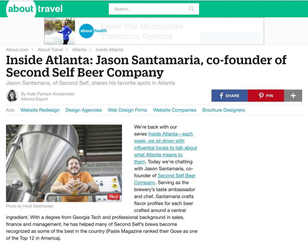 "About.com    , July 29th, 2015,  ""Inside Atlanta: Jason Santamaria, founder of Second Self Beer Company"""