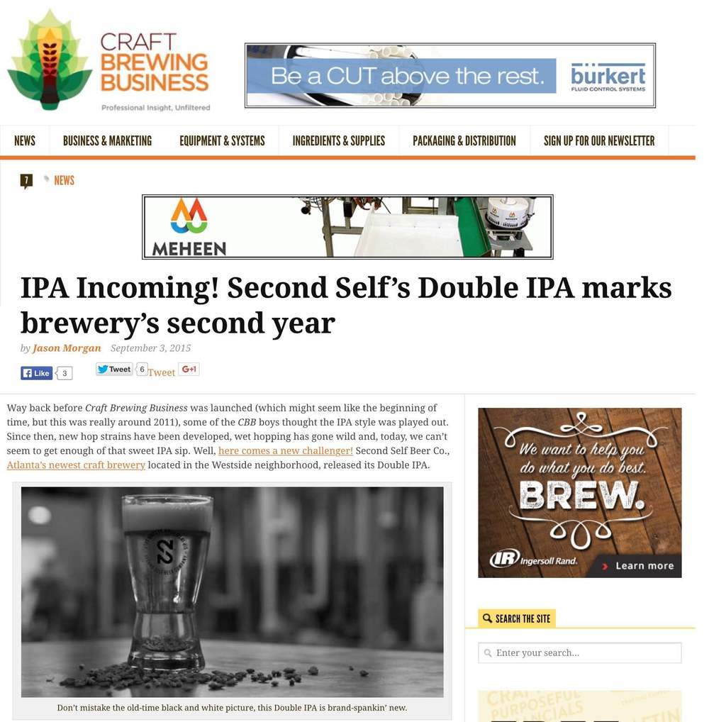 "Craft Brewing    , September 4th, 2015  ""IPA Incoming! Second Self's Double IPA marks brewery's second year"""