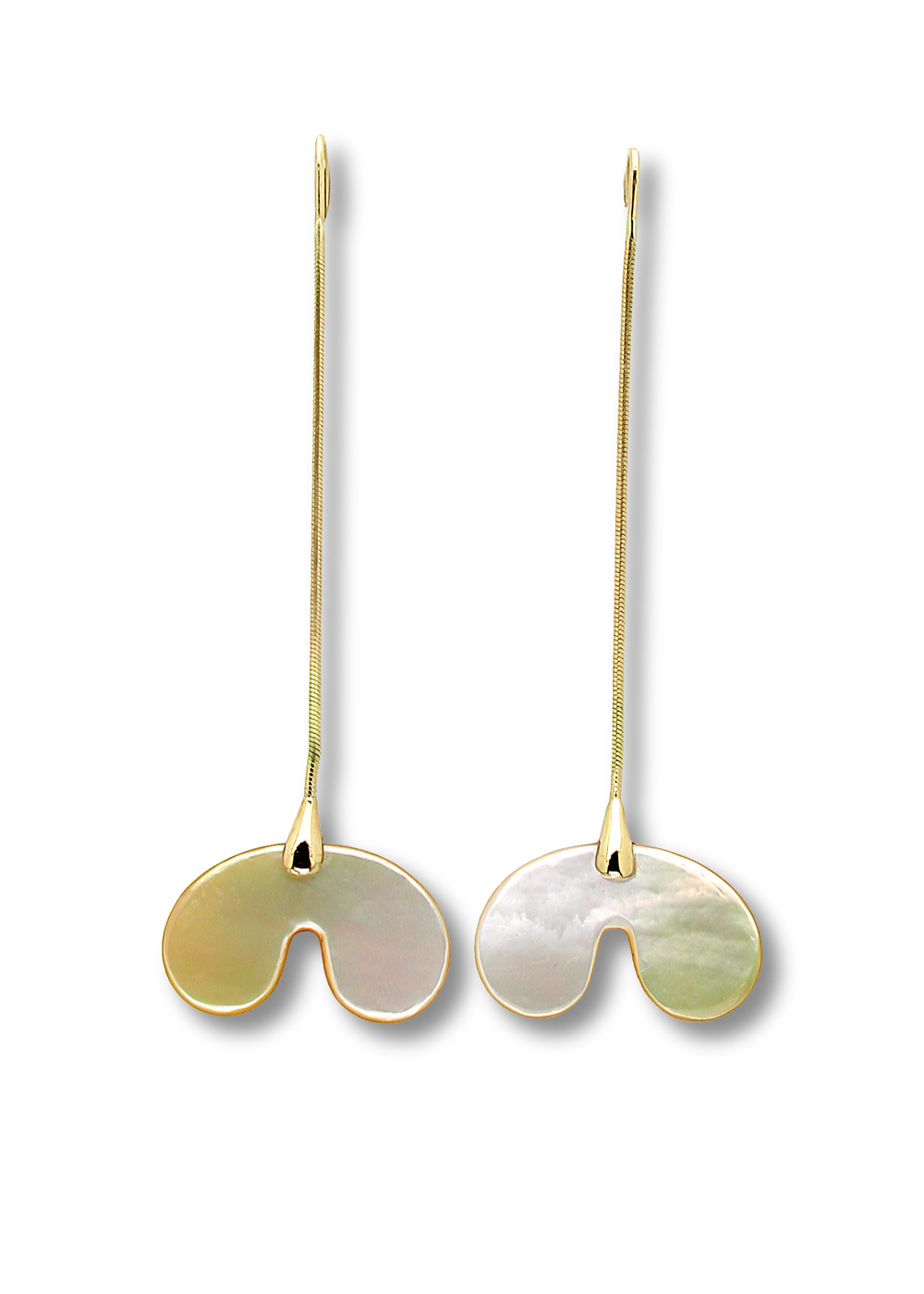 Gurmit's Yoni earrings   inspired by he yoni symbol. 18 carat   gold and Mother Of Pearl.