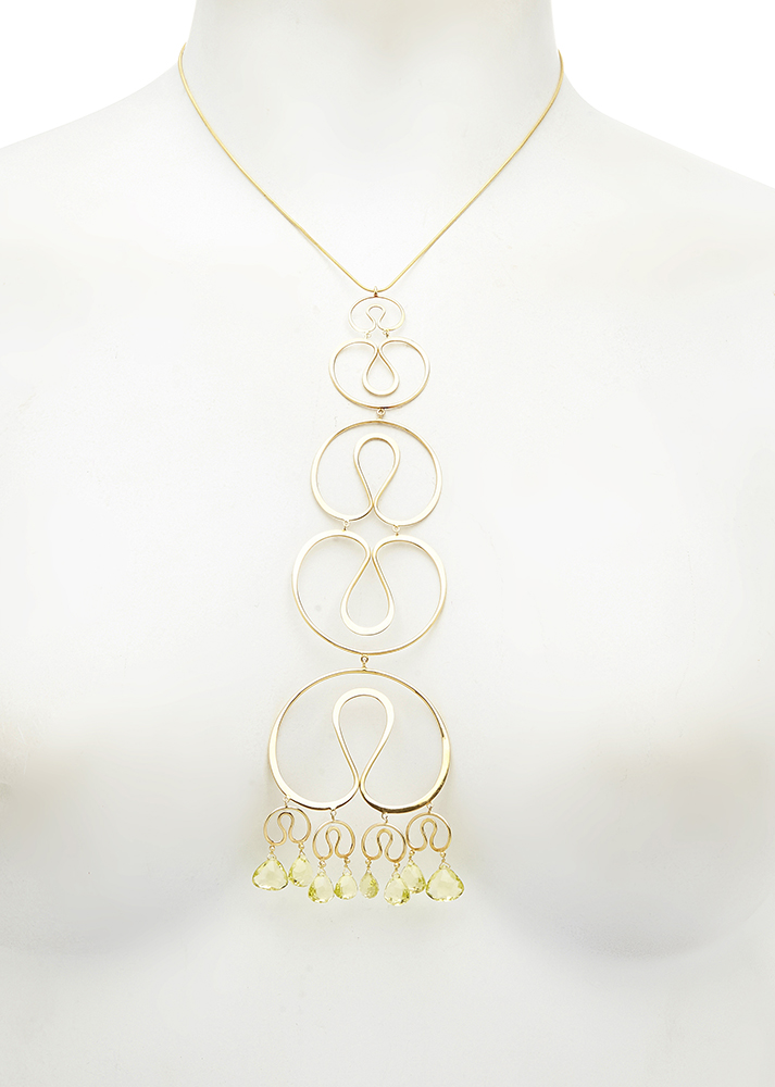 "Gurmit's ""Concubines"" necklace inspired by the yoni symbol in 18 carat gold and Lemon Topaz."