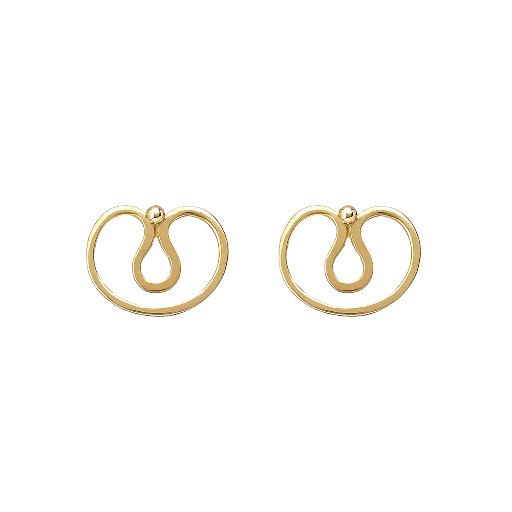 Gurmit's Yoni earrings   inspired by he yoni symbol. 18 carat   gold.