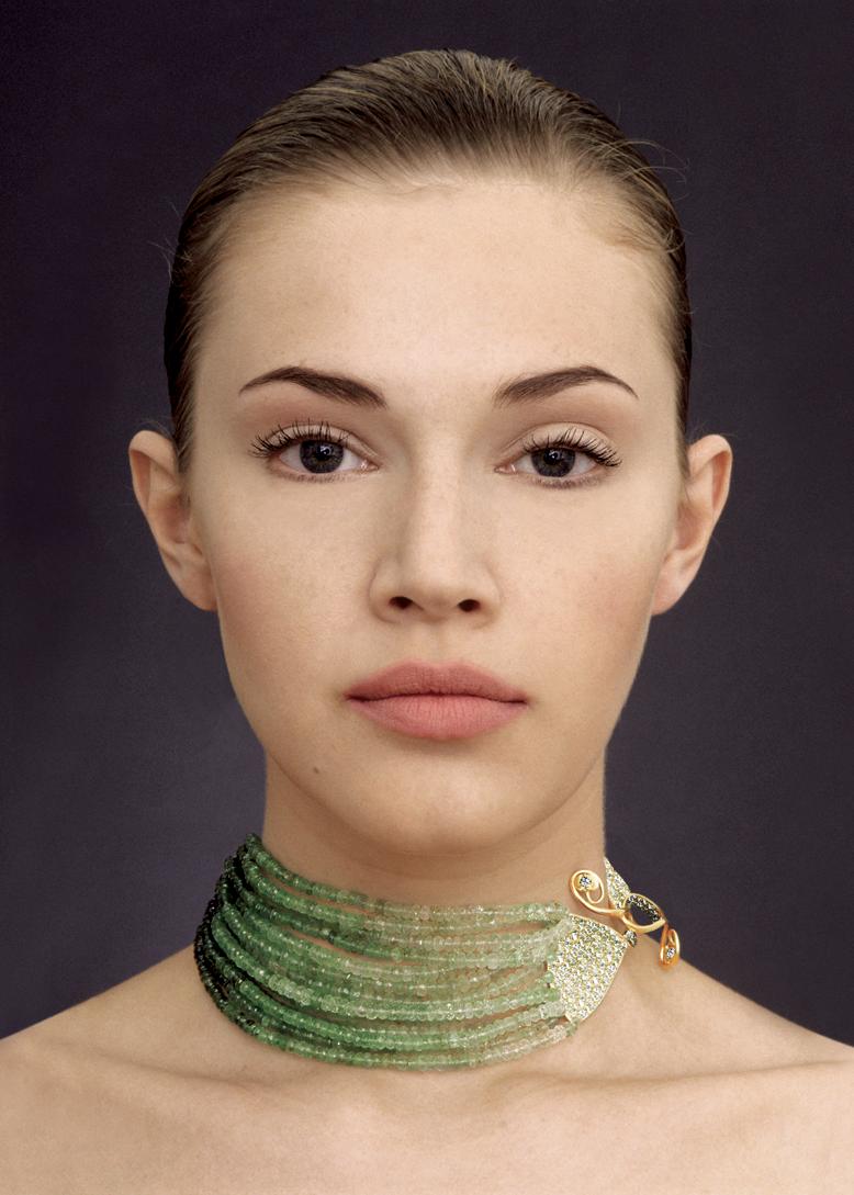 Gurmit's Zen Garden necklace in 18 carat gold, shaded emerald beads and diamonds.